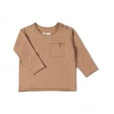 Karamelbruin gestreepte t-shirt - Longsleeve stripe nude caramel