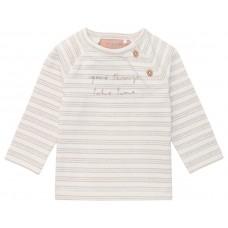 Beige gestreepte t-shirt met opschrift - Rende white sand