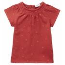 Roodroos kleedje met geborduurde bloemetjes - Macot bossa nova