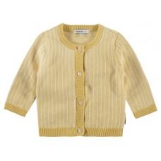 Geel- wit babytruitje - cardigan knit karby