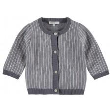 Grijs- wit babytruitje - cardigan knit karby