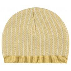 Geel - wit babymutsje - knit kastl
