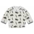 Sweater met neushoorn en salamanders - optic white lindon