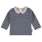 Blauw wit gestreept t-shirtje met kraagje - livionia - maat 74 (Geboortelijst Ellis B.)