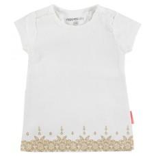 Wit kleedje met goudprint - optic white  - maat 80 (Geboortelijst Nore Deckers)