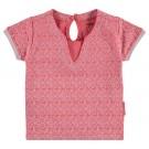 Koraalroze t-shirt met fijn motief - coral mauer