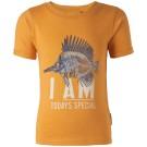 Oranje- bruine t-shirt met vissengraat - lassy warm yellow