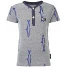 Grijs melée shirte met vissen - Mandeville deep blue