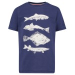 Blauwe t-shirt met vissen - revere Glow in the dark
