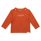 Terracottakleurige t-shirt little one - Spicy ginger tee hester text