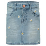 Lichtblauw jeansrokje met madeliefjes - Medium blue denim skirt mini cutler
