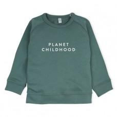 Groene sweater met tekst : planet childhood - pine green