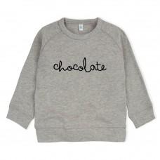 Grijs melée sweater met tekst : chocolate