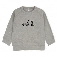 Grijs melée sweater met tekst : milk