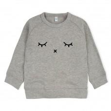 Grijs melée sweater met slapende oogjes