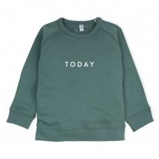 Groene sweater met tekst : today- pine green