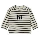 Ecru gestreepte sweater met tekst :  Hi - maat 0-3m (Geboortelijst Odette J.)