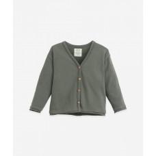 Grijsgroene cardigan - Jersey cardigan cocoon (stapelkorting)