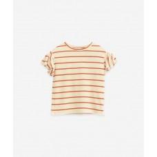 Beige gestreepte t-shirt - Striped jersey t-shirt anise  (stapelkorting)