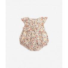 Zomers kruippakje met bloemetjes - Printed woven jumpsuit dandelion