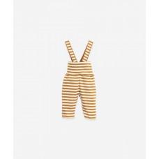 Karamelbruin gestreept broekje met bretellen - Striped rib legging hazel