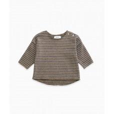 Grijs/oker gestreepte sweater - Striped jersey sweater cherry tree