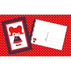 Postkaart meisje met bloemkleedje en 2 rode staartjes