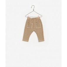 Kakibruin/wit gestreept broekje met zakjes - Striped double face trousers