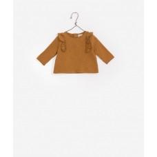 Karamelkleurige sweater met ruche - American fleece flamé sweater craft
