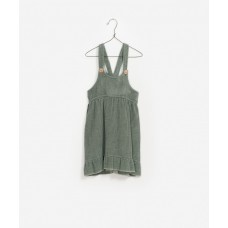 Grijsgroen fluwelen kleedje - Cordurou dungaree skirt plants