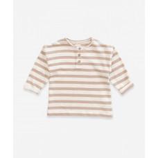 Wit met zand gestreepte sweater - Striped jersey sweater pearl
