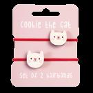 Set van 2 rode haarrekkers met kat - Cookie the cat hair bands