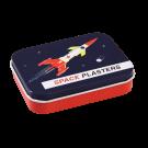 Pleisters in metalen doosje ruimte - Space age plasters in a tin