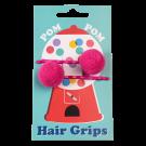 Set van 2 haarspeldjes met roze pom pom - Pink pom pom hair grips