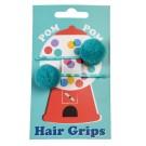 Set van 2 haarspeldjes met turquoise pom pom - Turquoise pom pom hair grips