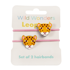 Set van 2 roze haarrekkers met luipaard - Wild wonders leopard hair bands