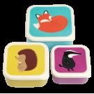 Assortiment snackdoosjes bosdiertjes - Set of 3 snack boxes rusty fox and friends