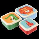 Assortiment snackdoosjes kleurrijke dieren - Set of 3 colourful creatures snack boxes