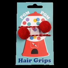 Set van 2 haarspeldjes met rode pom pom - Red pom pom hair grips