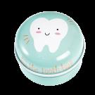 Blauw metalen tandendoosje met tand - Blue tooth fairy tin