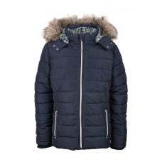 Donkerblauwe jas met afneembare kap en afneembare pels - coat navy