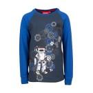 Blauwe t-shirt met robot en raster - kobalt robot (stapelkorting)
