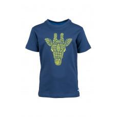 Donkerblauwe t-shirt met giraf - Theo dark blue