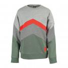 Grijze sweater met kaki en rood - Kick grey melange