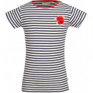 Blauw- wit gestreepte shirt met bloem - floret navy (stapelkorting)
