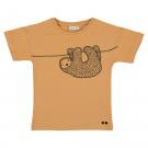Caramelkleurige t-shirt met luiaard - T-shirt short sleeves silly sloth