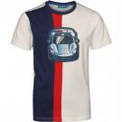 Wit gestreepte t-shirt met auto - Car dark blue