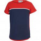 Rode t-shirt met blauw en wit - Abstract red