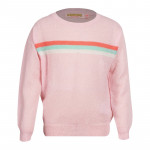 Lichtroze sweater met 3 strepen - Eline medium pink