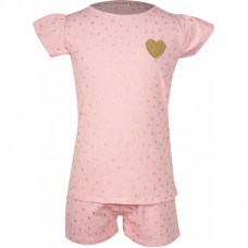 Roze pyjama met gouden hartjes - Sleepy light pink